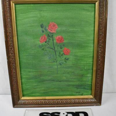 Original Art on Canvas by Helen Mellos, Red Roses on Green Background, Framed