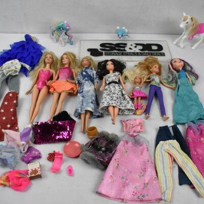 Misc Toy Lot, Mostly Barbies, Barbie Clothes, and Horses