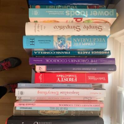 9. Large collection of assorted cooking and gardening books