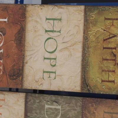 Faith. Hope. Love Wall Hanging and BELIEVE. Dream. Imagine
