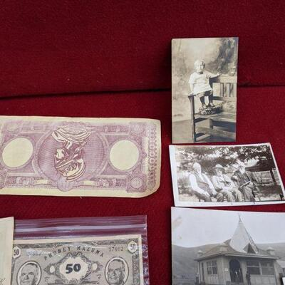 Vintage military collectibles and post cards, photos