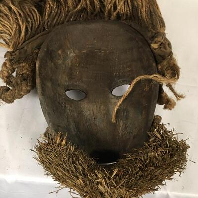 Lot 5 - Wooden Mask with Rope Hair