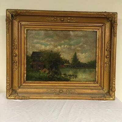 Lot 6 - Large Oil Painting in a Deep Gilded Frame