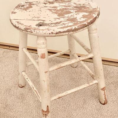 LOT 12  CHIPPY PAINTED WOODEN STOOL