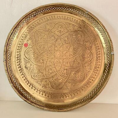 LOT 13 LARGE ROUND MOROCCAN TRAY