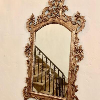 LOT 18 GILT WOOD AND GESSO HALL MIRROR