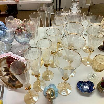 $48 6 Gold Accent Wine Cups $48 6 Gold Accent Water Goblets $8 Gold Accent Floral  Etched Wine Goblet
