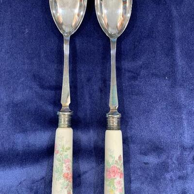 Antique Partial Sterling Ceramic Serving Spoon & Fork Set: NOW ONLY $45