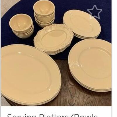 19 PC  Set: MARKED DOWN FROM $225 NOW ONLY $125 Ceramic Platters & Bowls Set as Seen: Imported from Portugal INCLUDES  3 small oval...
