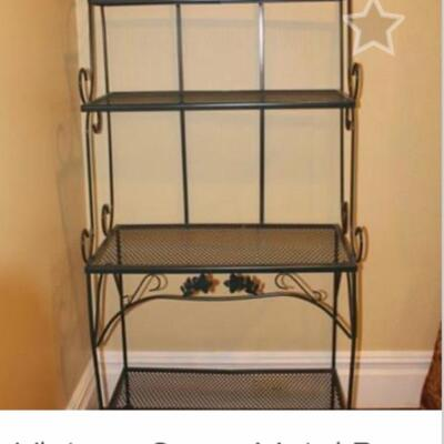 "PRICE REDUCTION! NOW ONLY $125 GREEN WROUGHT IRON BAKERS RACK: Originally $175  NOW ONLY $125/ Perfect Condition- 4 Shelves 64"" H x 19""D..."