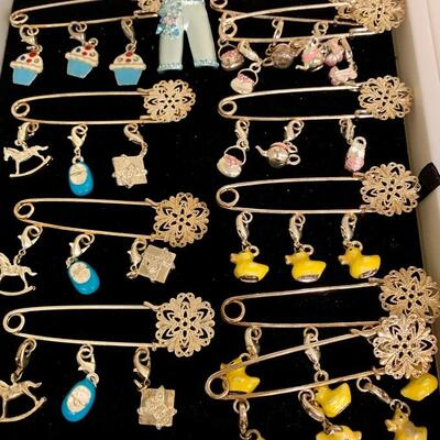 Children's Decorative Safety Pin/ Charm Dangles NOW ON SALE $5 EACH - great on hat, blankets, sweaters ... last pieces left- come get em...