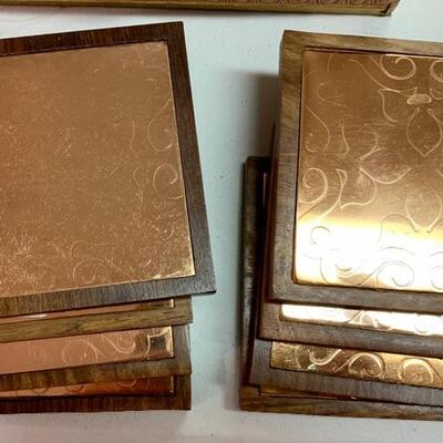 $40 8 Copper and Wood Square Coasters