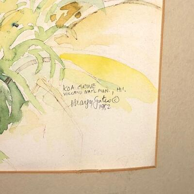 LOT 36 Margy Gates 1982 Watercolor Painting KOA GROVE