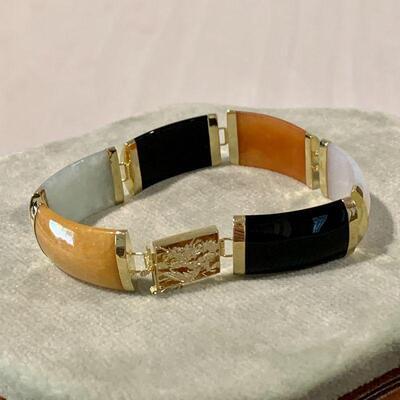 LOT 44  FINE JEWELRY ASIAN STYLE LINK BRACELET 14K GOLD & MULTI COLOR STONES