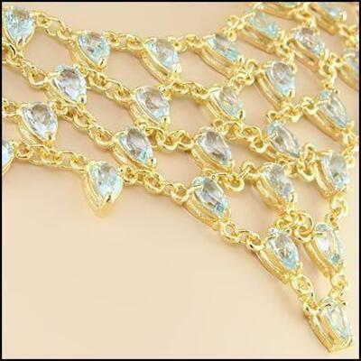 Beautiful Women's 18K Yellow Gold Over Solid Sterling Silver 59.0 CTW Swiss Blue Topaz 18 Inch Designer Necklace