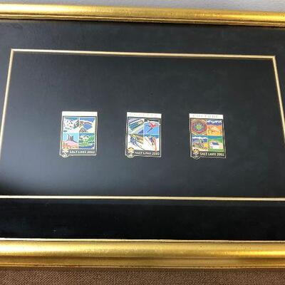 Framed Collection of Salt lake City 2002 Olympic Pins