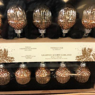 #9 2 Packages of Lighted Acorn Garlands