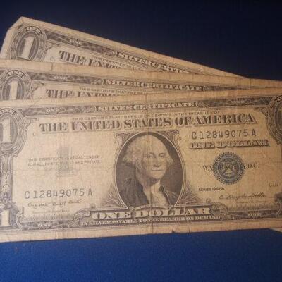 3 1957 Silver Certificates