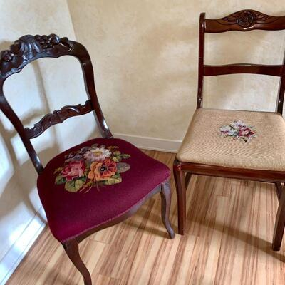 LOT 34 GROUP OF ANTIQUE SINGLE CHAIRS NEEDLEPOINT