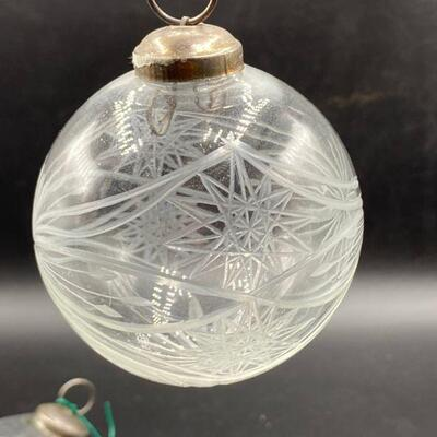 4 Etched Glass Christmas Ornaments