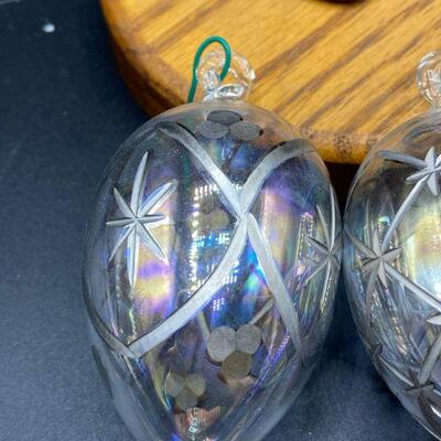 Etched & Painted Blown Glass Christmas Ornaments