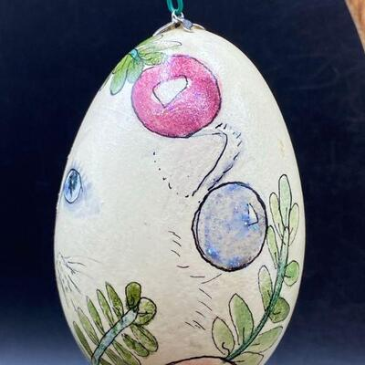 Hand Painted Egg Christmas Cat Ornament