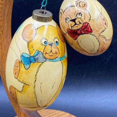 Pair of Bear Themed Hand Painted Egg Ornaments