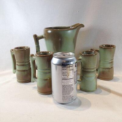 Frankoma Pitcher with Four Mugs
