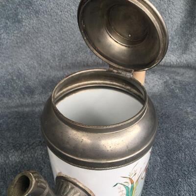 "Rare 19th Century Painted 9"" Granite Ware Coffee Tea Pot with Pewter"
