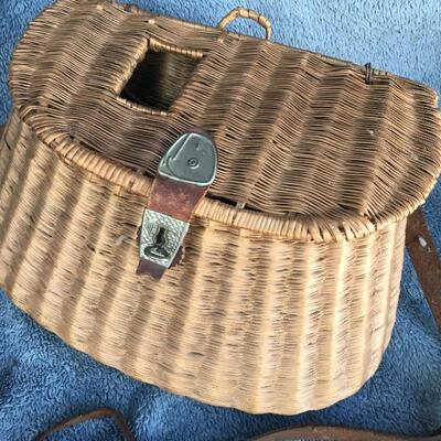 Antique Wicker and Leather Fishing Creel