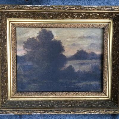Antique Impressionist Landscape Oil on Canvas Board 12 x 9