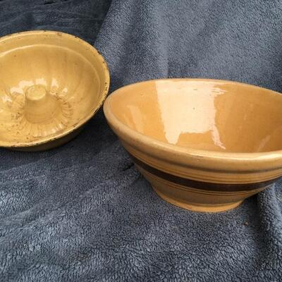 "Antique 10"" Banded Yellow Ware Bowl and 9"" Bun Cake Mold"