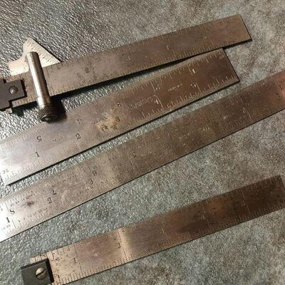 128: Vintage Starrett Metal Rulers