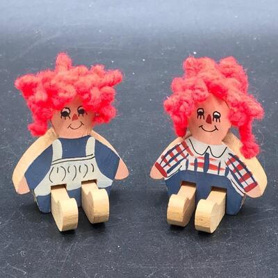 2 Miniature Wooden Figurines