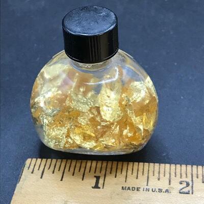 Novelty Bottle of 24k Gold-Leaf Flakes In Fluid