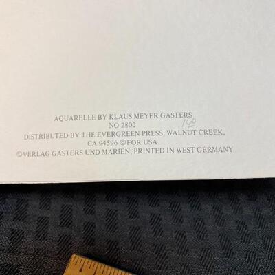 Pair of Vintage Klaus Meyer Gasters Owl Watercolor Blank Cards