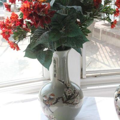 Lot 9 Cherry Blossom Japanese Vase w/ Faux Floral