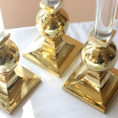 Lot 13 Set of 3 Brass Candle Sticks