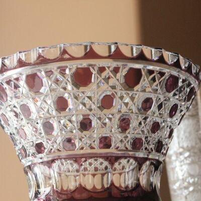Lot 14 Lrg. Cranberry Lead Crystal Vase