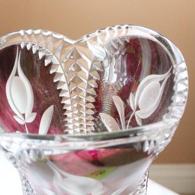 Lot 16 Med. Cranberry Lead Crystal Rose Vase