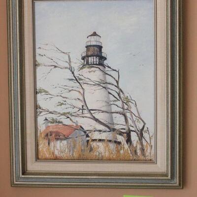 Lot 17 Org. Lighthouse Signed Oil Painting 'Dottie Reitz'