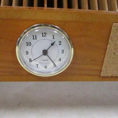 Lot 14 - Office Desk Organizer With Clock