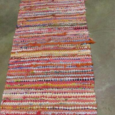 Lot 23 - Area Rug Made Out Of Strips Of Material