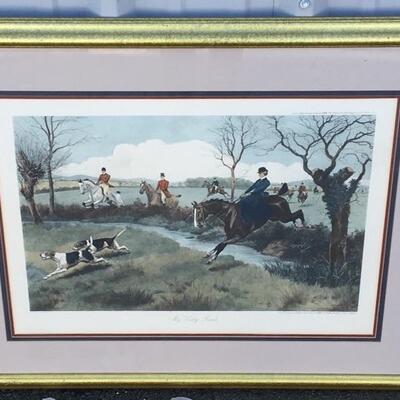 "G.D. ROWLANDSON c.1899 Large 26 x 19 ""My Lady Leads"" Hand Colored Engraving"