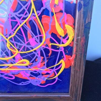 JACKSON POLLOCK Style Original 11 x 14 Oil on Glass with cobalt background