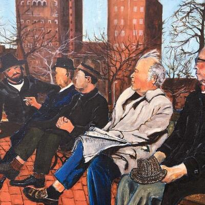 "PAUL GORDON 1982 ""Park Bench"" Original Oil Painting"