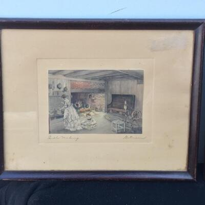 Pair of Vintage WALLACE NUTTING Style 7 x 5 Hand Colored Photographs Indoor Scenes