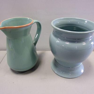 Lot 8 - Bobby Flay Stoneware Turquoise Water Pitcher & Blue Vase