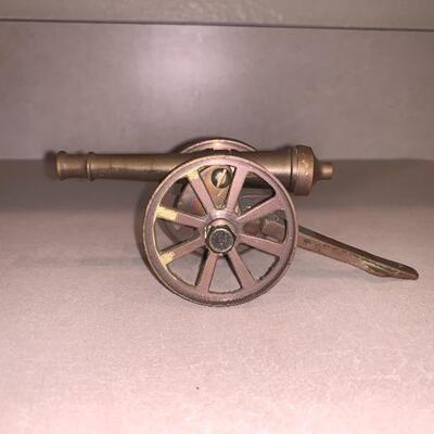 Antique vintage Brass cannon set (2) large and small