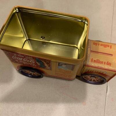 Vintage Coca Cola tin truck bank